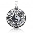 925 Sterling Silver Ying Yang Ashtamangala Hindu Tibetan Buddhism Sacred Pendant