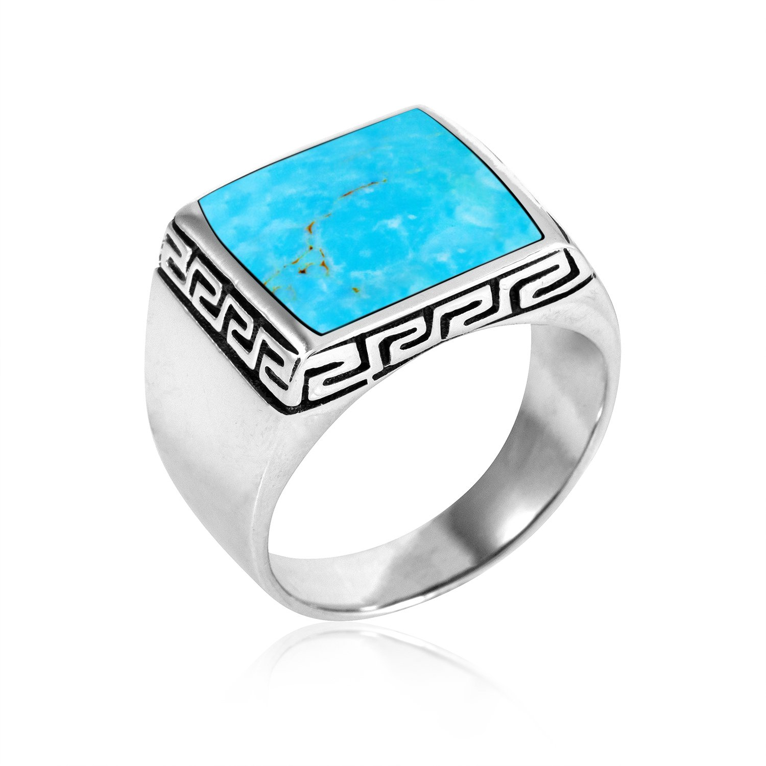 925 Sterling Silver Mens Square Turquoise Greek Key Meander Meandros Band Ring