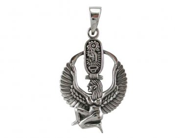 925 Sterling Silver Egyptian Winged Goddess Isis Sekhmet Cartouche Charm Pendant