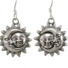 925 Sterling Silver Sun Crescent Moon Face Heaven Sky Dangle Earrings Set