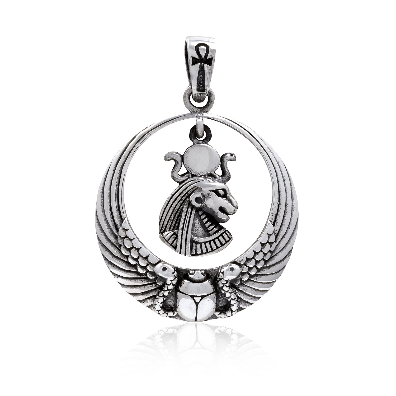 925 Sterling Silver Royal Wadjet Lion Goddess Sekhmet Ankh Scarab Wings Pendant