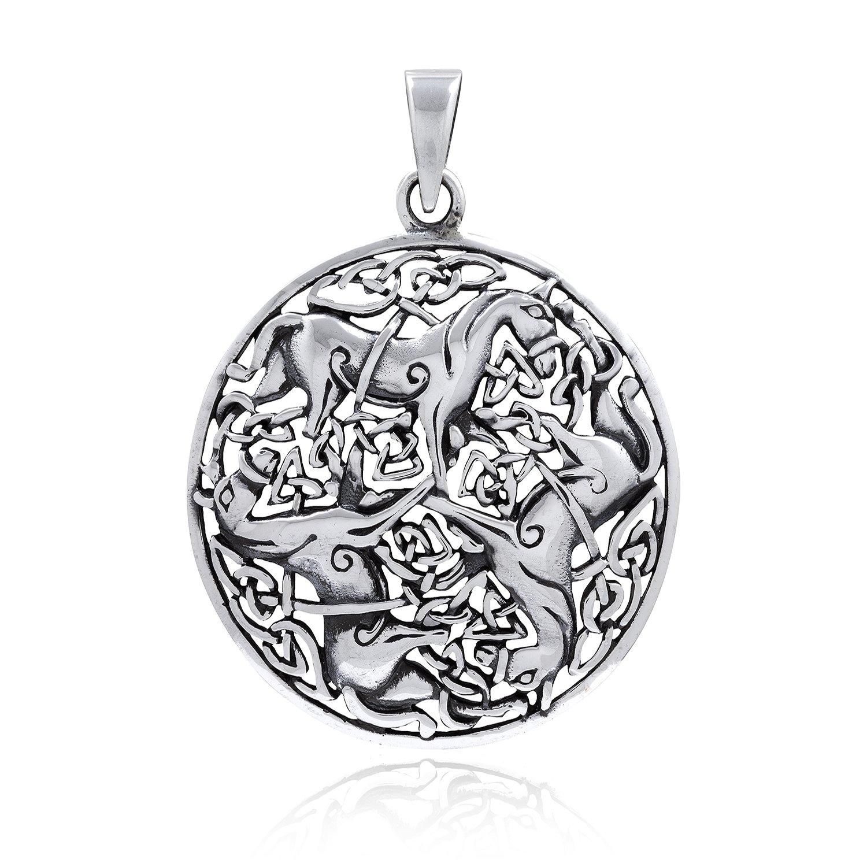 925 Sterling Silver Three Horse Celtic Irish Knot Knotwork Epona Pendant