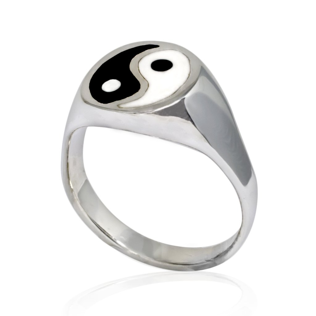 925 Sterling Silver Men's Enamel Asian Ying Yin Yang Tai Chi Balance Unisex Ring