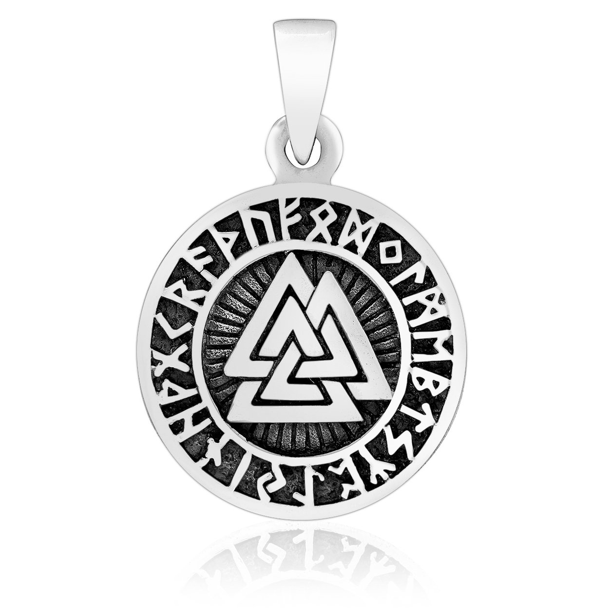 925 Sterling Silver Valknut Runes Futhark Viking Asatru Odin Charm Pendant