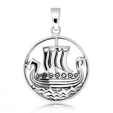 925 Sterling Silver Viking Pirate Boat Ship Longboat Norse Charm Pendant