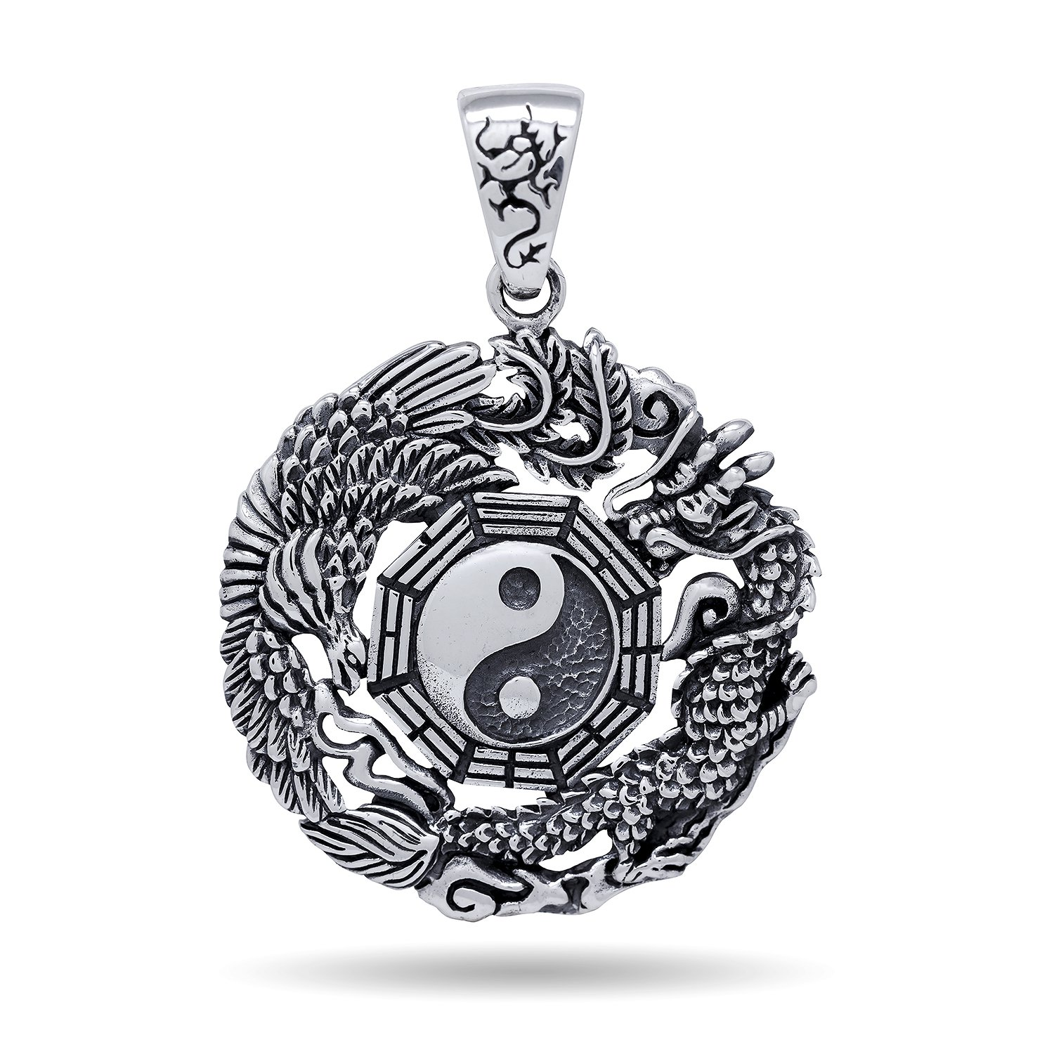 925 Sterling Silver Yin Ying Yang Chinese Dragon Big Bird Mystic Jewelry Pendant