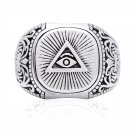 925 Sterling Silver Pyramid Masonic Mason Freemasonry Illuminati Eye of Horus Ring