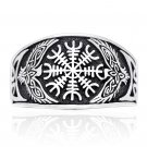 925 Sterling Silver Viking Raven Magical Staves Aegishjalmur Helm of Awe Celtic Knotwork Ring