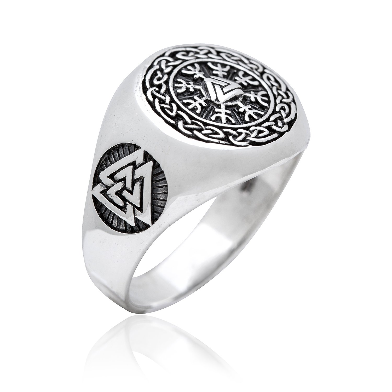 925 Sterling Silver Valknut Viking Helm Of Awe Aegishjalmur Celtic Infinity Knots Ring