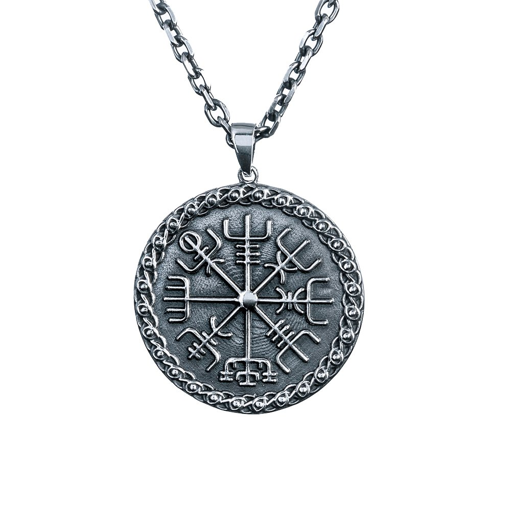 925 Sterling Silver Vegvisir Icelandic Viking Magical Staves Protection Compass Charm Pendant