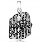 925 Sterling Silver Egyptian Hieroglyphs Eye of Horus Cartouche Pendant