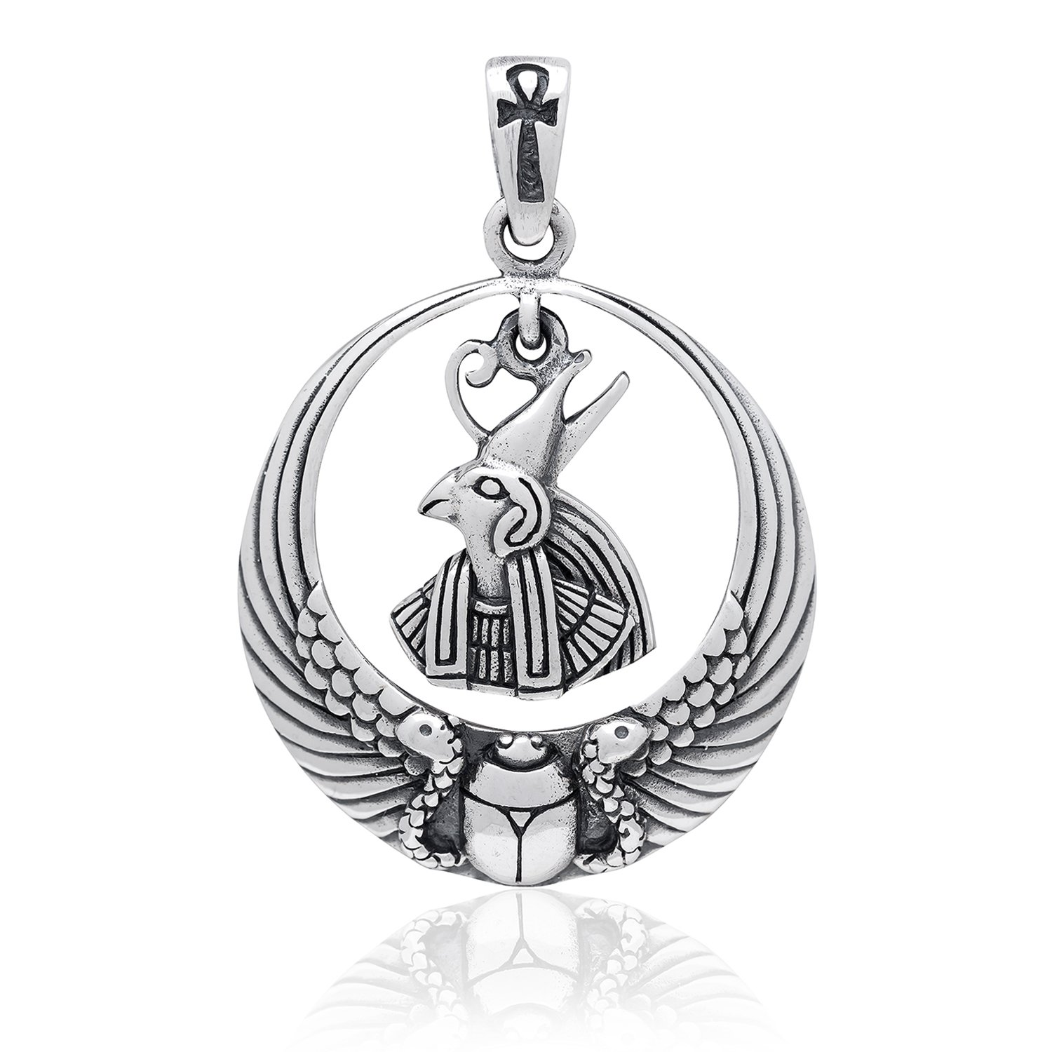 925 Sterling Silver Egyptian Sky God Horus Figure Falcon Ankh Scarab Wings Pendant
