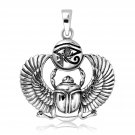 925 Sterling Silver Egyptian Eye of Horus Udjat Ancient Sacred Scarab Beetle Pendant