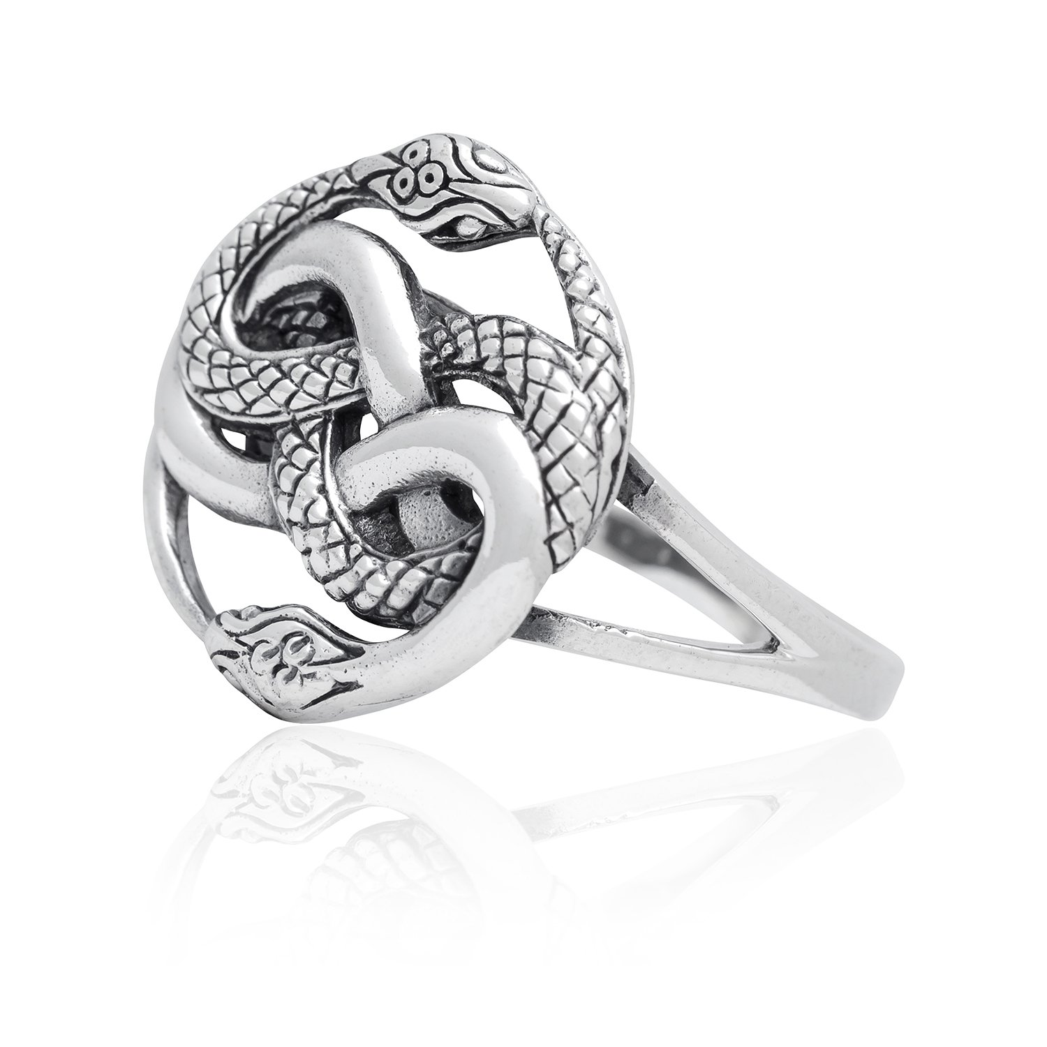 925 Sterling Silver Ouroboros Uroboros Serpent Snake Infinity Eating Tail Ring