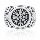 925 Sterling Silver Viking Helm Of Awe Aegishjalmur Knotwork Protection Ring
