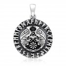 925 Sterling Silver Viking Odin's Huginn and Muninn Raven Helm of Awe Runes Valhalla Pendant