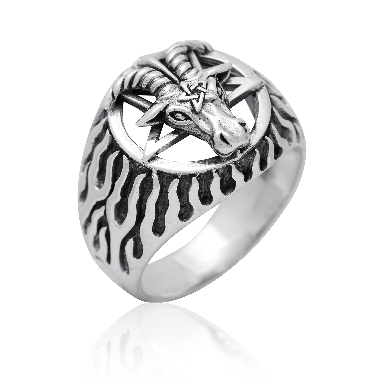 Sterling Silver Sigil of Baphomet Pentagram Horned Sabbatic Goat of Mendes Ram Satan Occult Ring