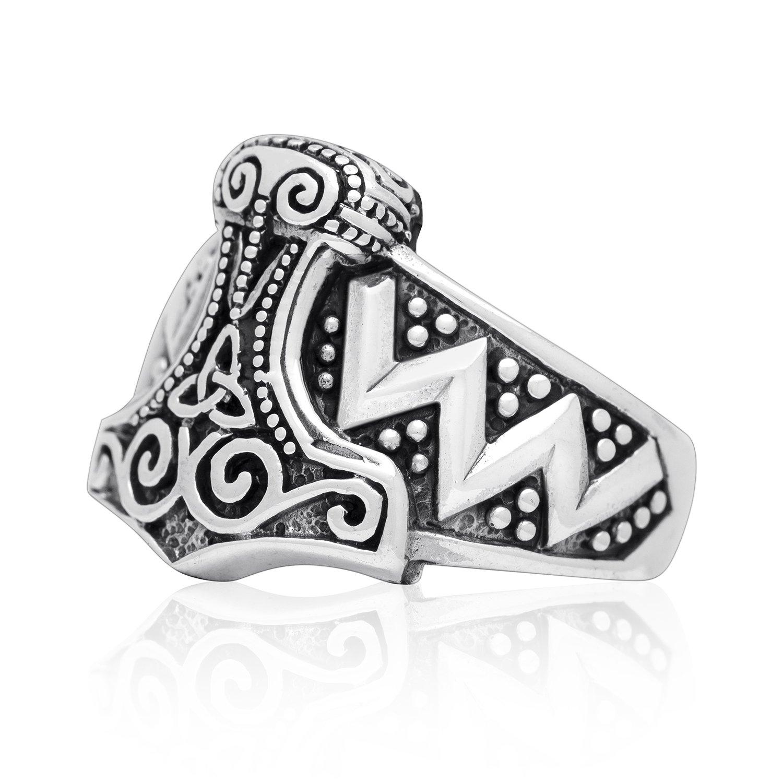 925 Sterling Silver Viking Wikinger Thor Hammer Mjölnir Mjolnir Celtic Knot Norse Biker Ring