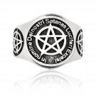 925 Sterling Silver Baphomet Inverted Pentagram Lucifer Satanic Luciferi Excelsi Ring