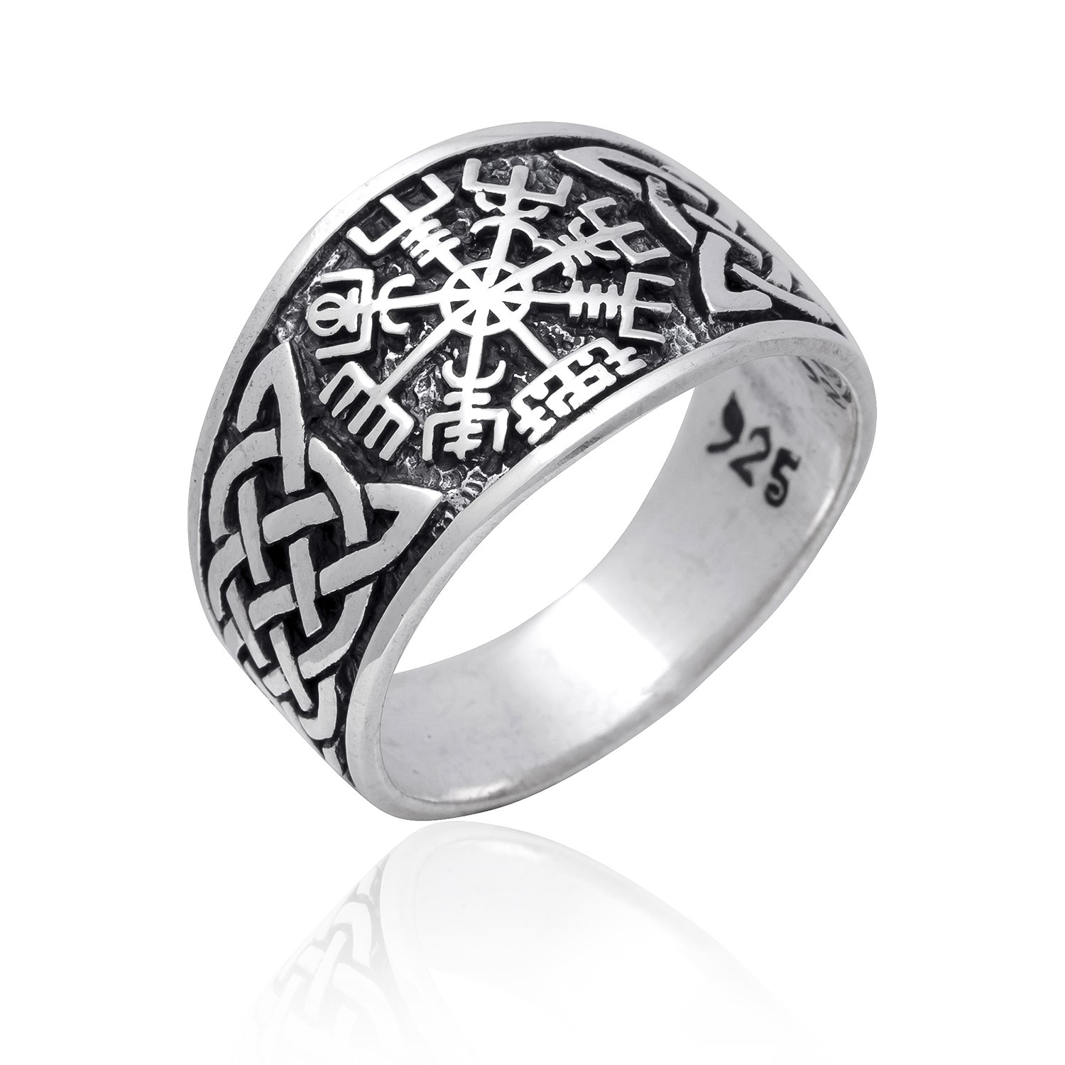 925 Sterling Silver Viking Vegvisir Norse Compass Asatru Knotwork Solid Ring