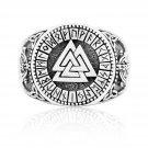 925 Sterling Silver Viking Valknut Runes Futhark Jormungand Handcrafted Knotwork Ring
