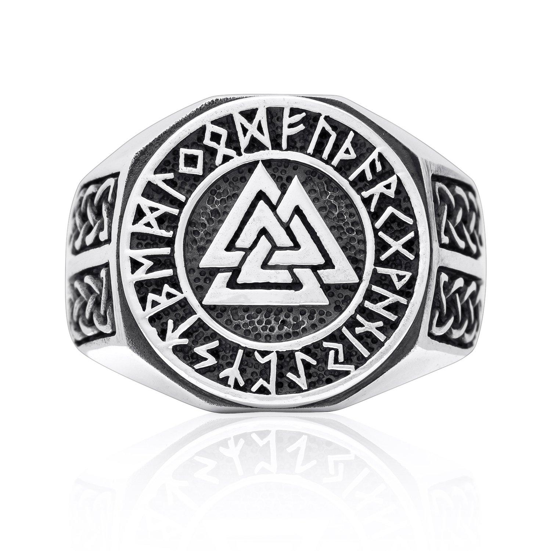 925 Sterling Silver Valknut Norse Runes Futhark Knotwork Viking Jewelry Ring