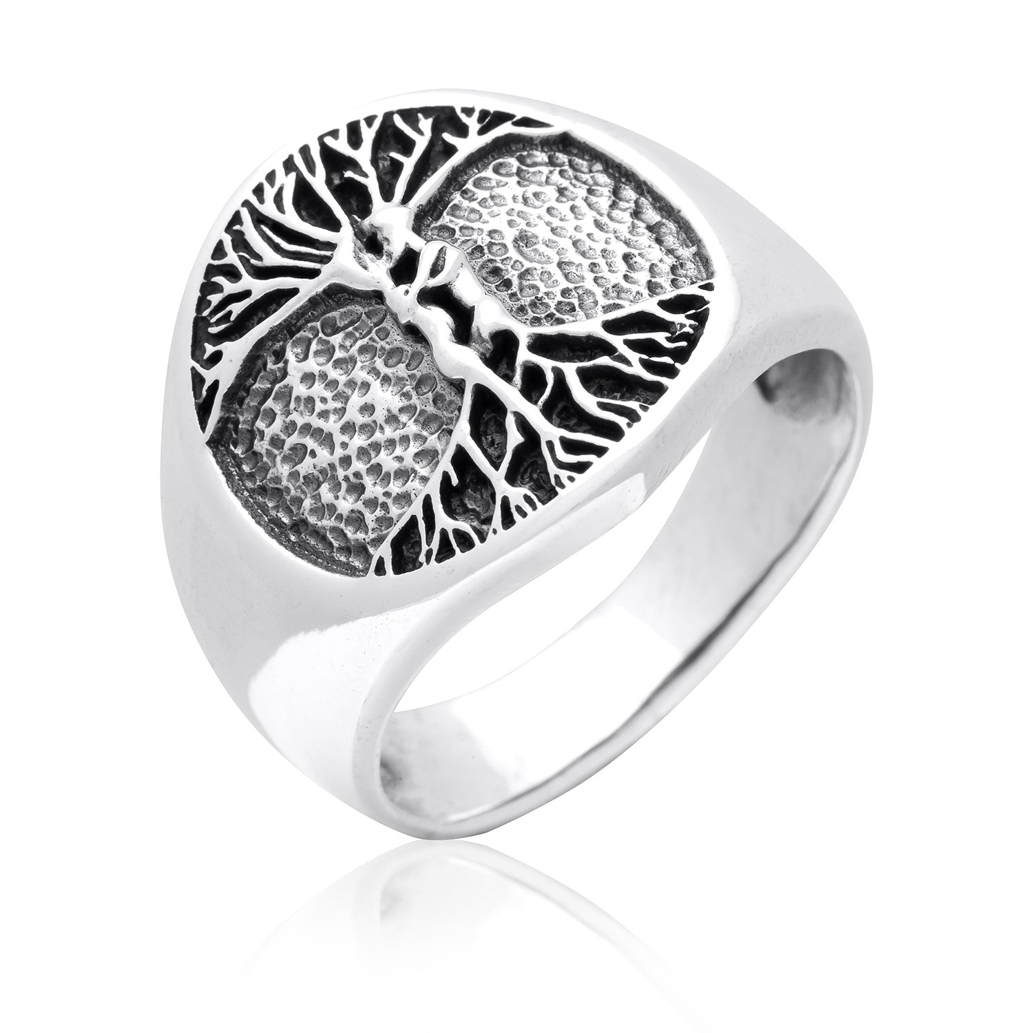 925 Sterling Silver Nude Lovers Embracing Celtic Tree of Life Handcrafted Ring