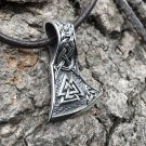 925 Sterling Silver Viking Valknut Triquetra Knotwork Perun Axe Double Sided Pendant