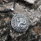 925 Sterling Silver Celtic Triskele Triskelion Viking Norse Runes Futhark Pendant
