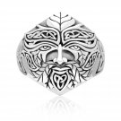 925 Sterling Silver Green Man Forest Greenman Celtic Motif Pagan Wicca Jewelry Ring