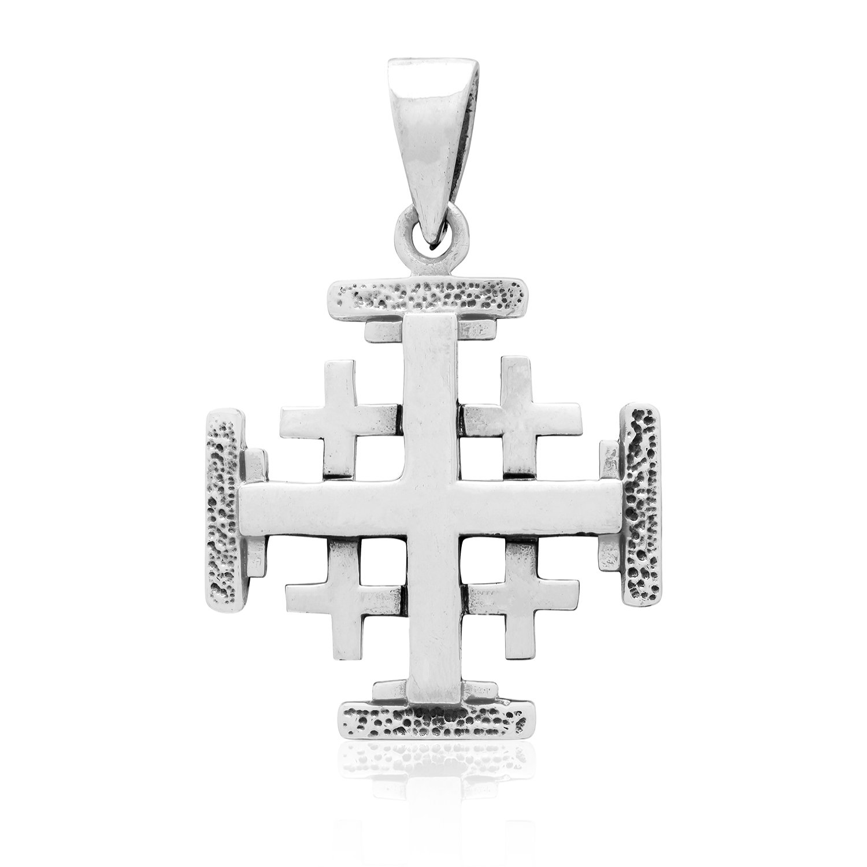 925 Sterling Silver Handcrafted Jerusalem Crusaders Cross Antique Charm Pendant