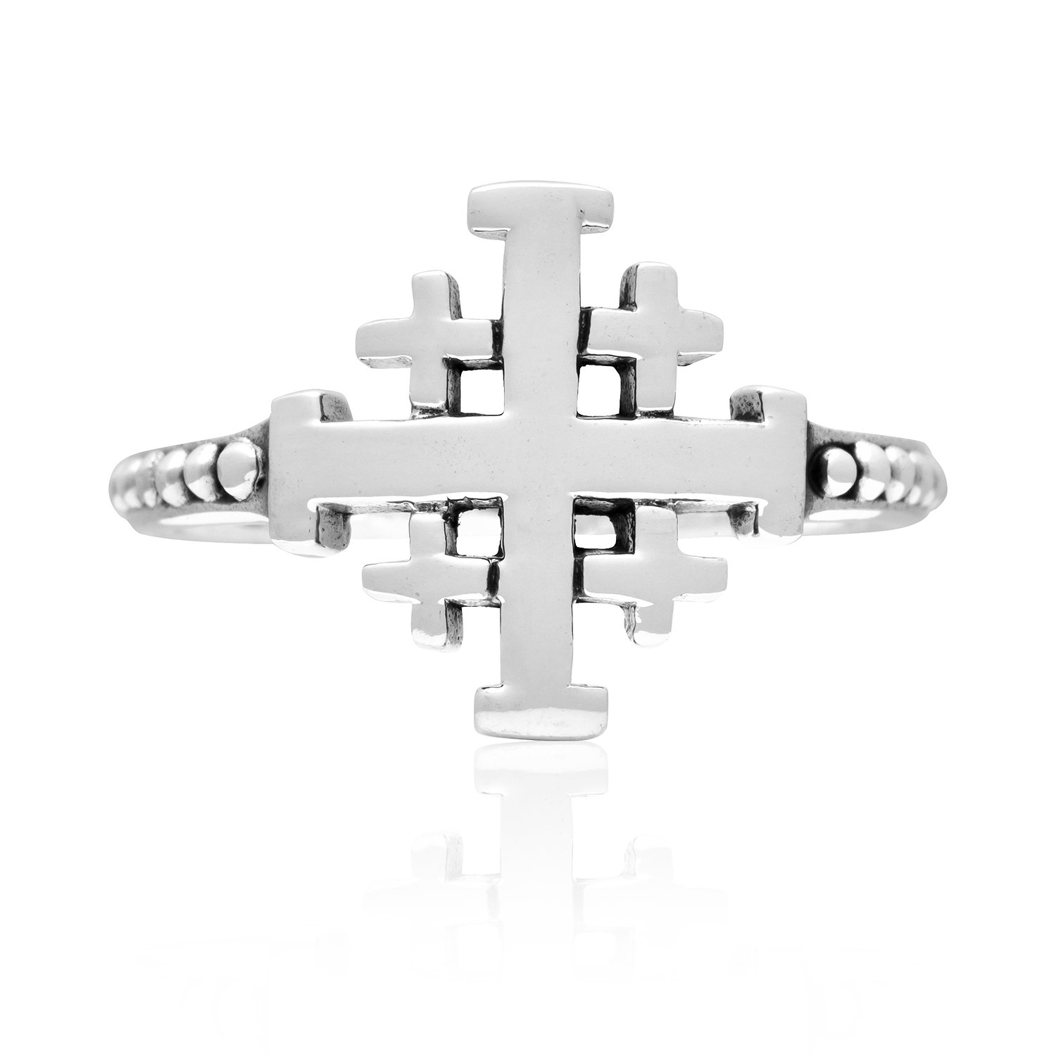 925 Sterling Silver Jerusalem Crusaders Cross Jesus Antique Band Ring