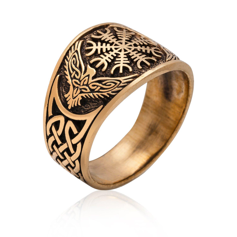 Bronze Viking Raven Helm of Awe Norse Aegishjalmur Knotwork Ring