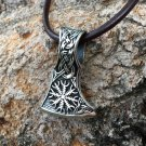 925 Sterling Silver Viking Helm of Awe Aegishjalmur Knotwork Perun Axe Double Sided Amulet Pendant
