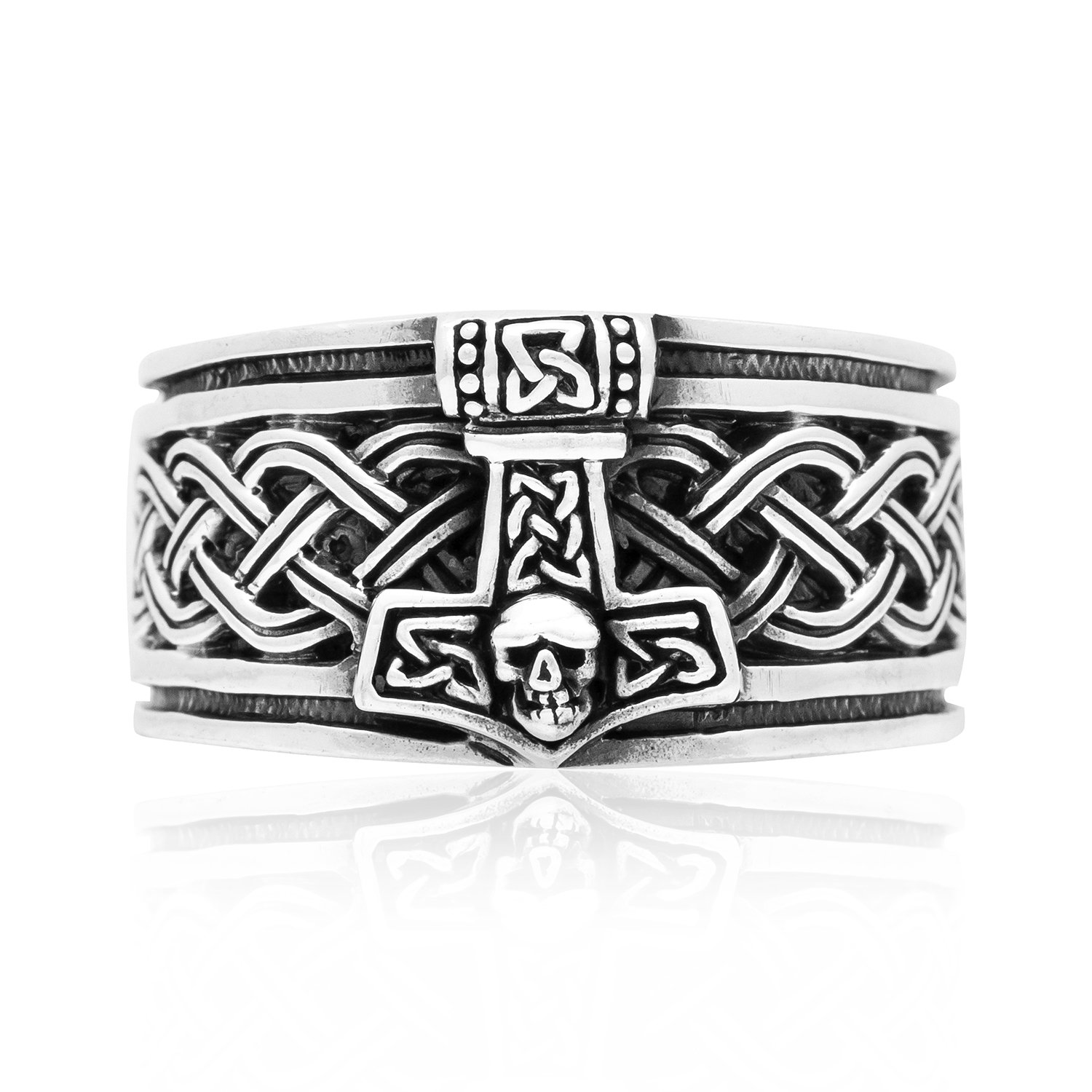 925 Sterling Silver Thor Hammer Band Ring With Celtic Infinity Knots