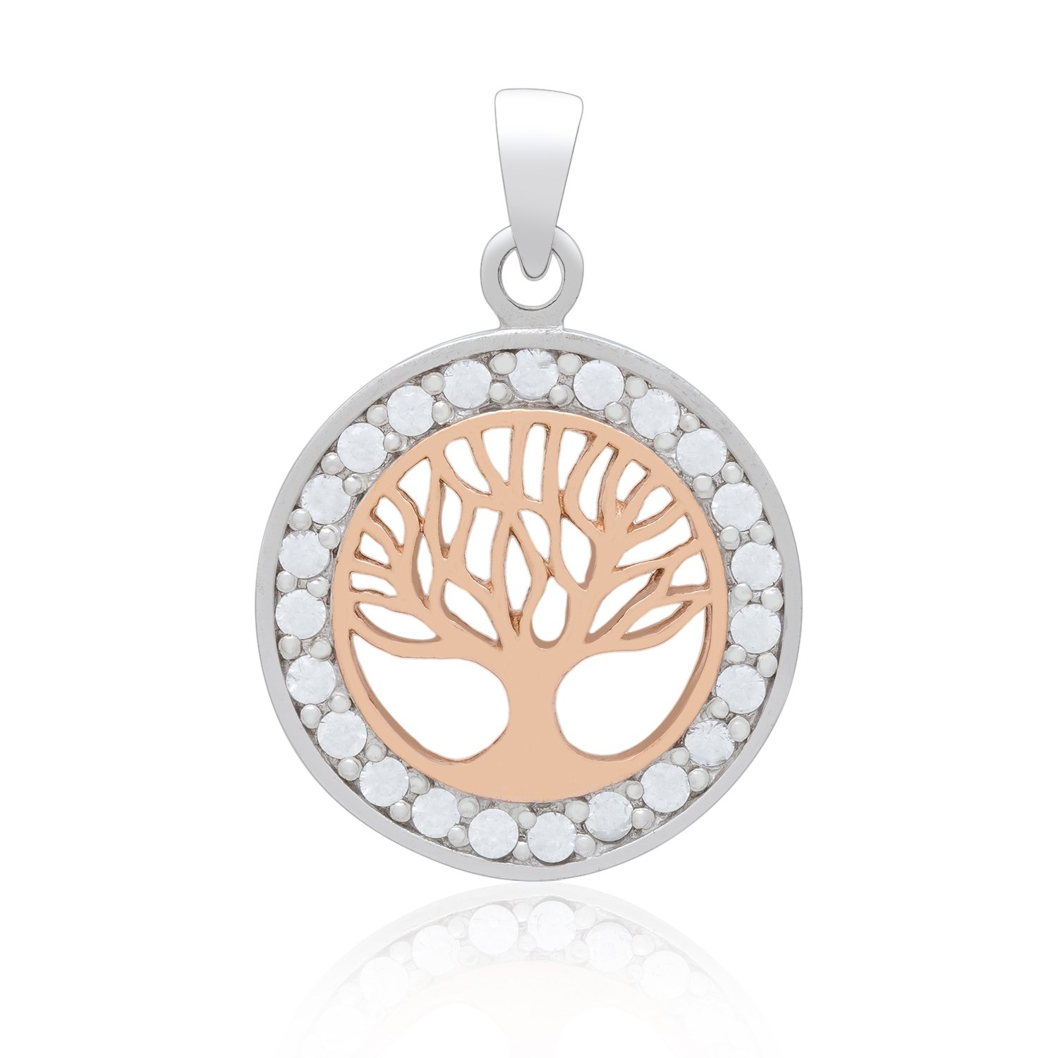 925 Sterling Silver with Rose Gold Plated Viking Yggdrasil Tree of Life and Cubic Zirconia Charm