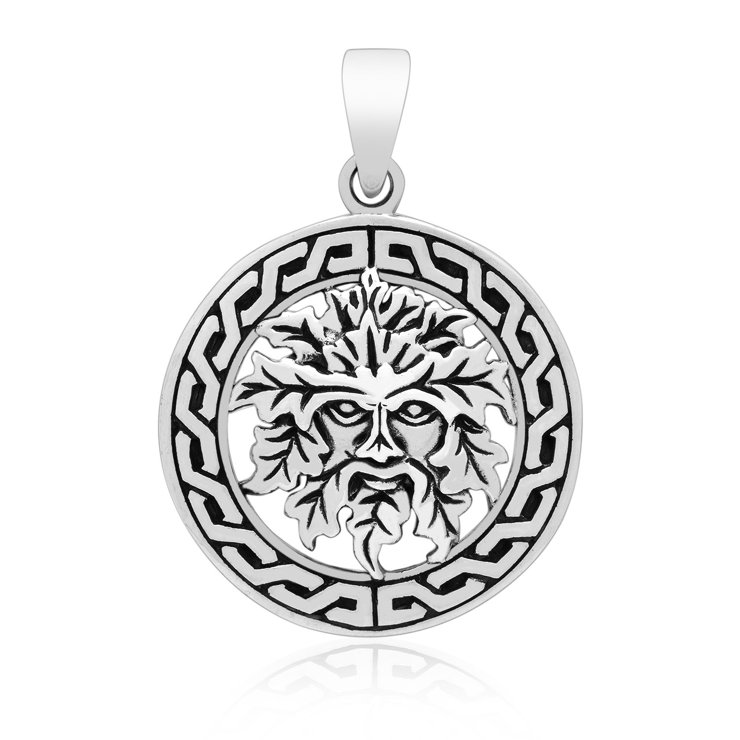 925 Sterling Silver Green Man Forest Greenman Celtic Motif Pagan Wicca Jewelry Pendant