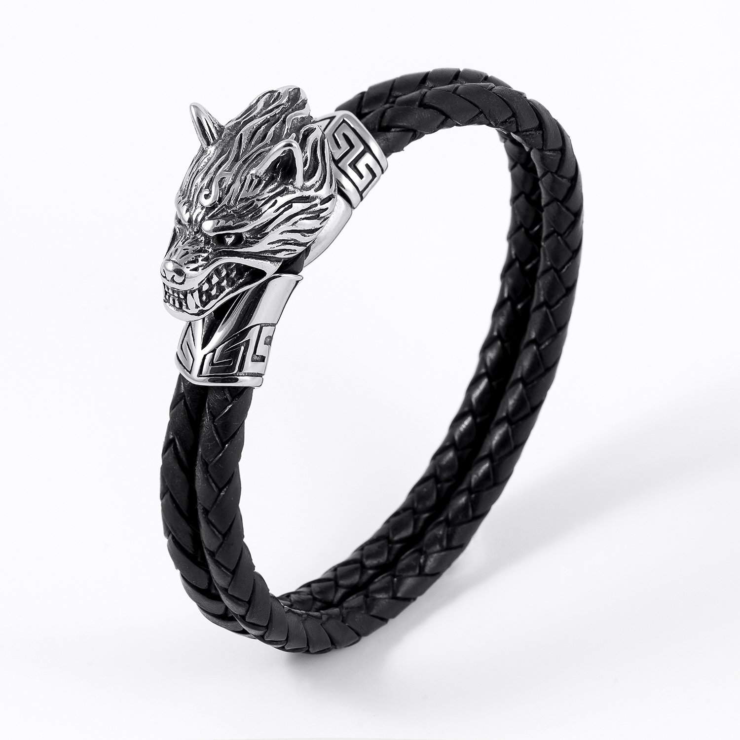 Stainless Steel Viking Fenrir Wolf Head with Black Braided Leather Bracelet