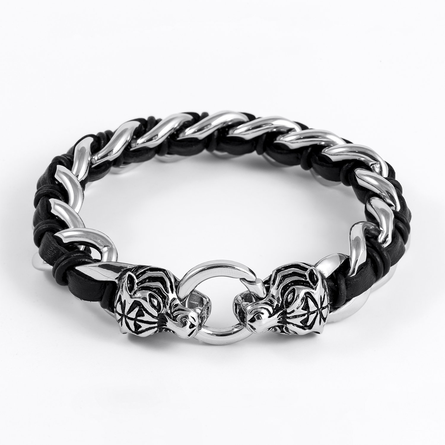 Stainless Steel Viking Tiger Head with Black Leather Curb Chain Biker Bracelet