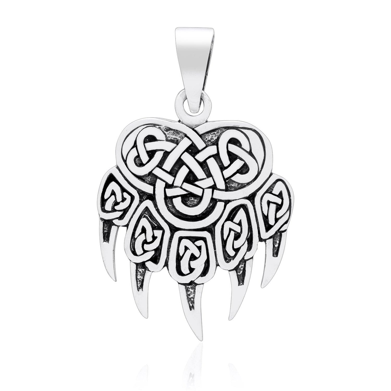 925 Sterling Silver Viking Print Bear Paw Claw Warding Veles Amulet Pendant