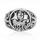 925 Sterling Silver Viking Drakkar Ship Norse Monster Octopus Signet Ring