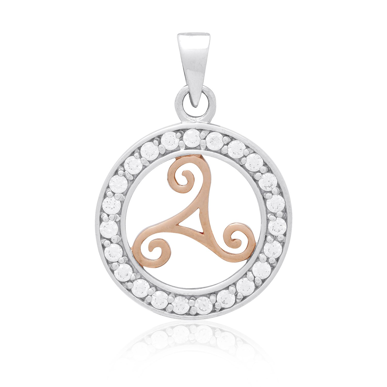925 Sterling Silver with Rose Gold Plated Celtic Viking Triskelion and Cubic Zirconia Charm