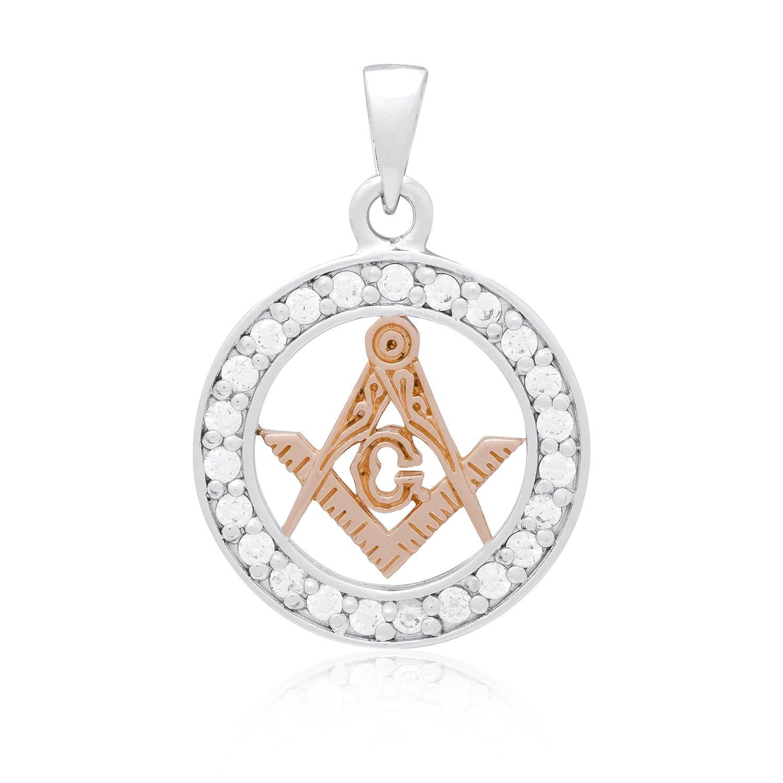 925 Sterling Silver with Rose Gold Plated Masonic Mason Freemasonry Compass CZ Charm
