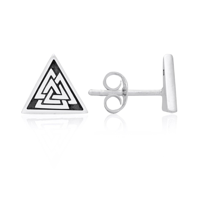 925 Sterling Silver Valknut Odin Viking Norse Stud Earrings Set
