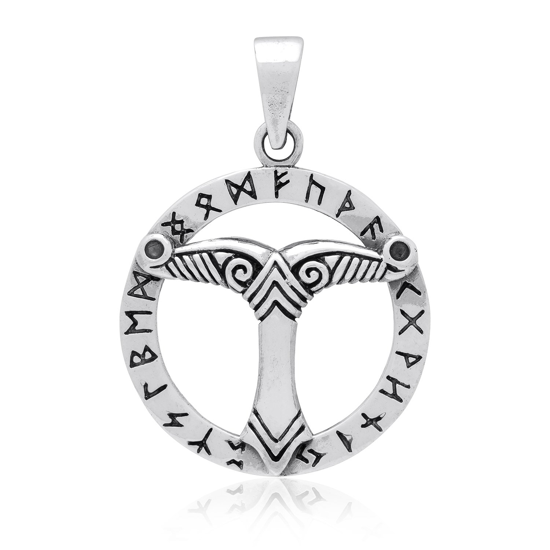 925 Sterling Silver Germanic Irminsul Sacral Pillar Saxon Viking Norse Runes Pendant