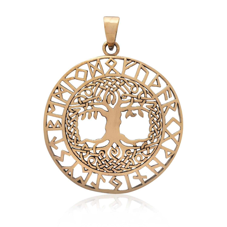 Handcrafted Bronze Viking Yggdrasil Celtic Knots Tree of Life Runes Pendant