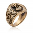 Handcrafted Bronze Viking Thor Hammer Mjölnir Mjolnir Futhark  Norse Runes Runic Ring