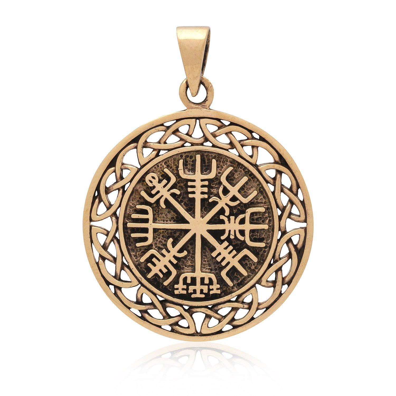 Handcrafted Bronze Vegvisir Viking Compass Celtic Infinity Knots Amulet Pendant