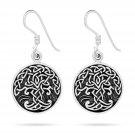 925 Sterling Silver Viking Tree of Life Yggdrasil Celtic Knotwork Dangle Earrings Set