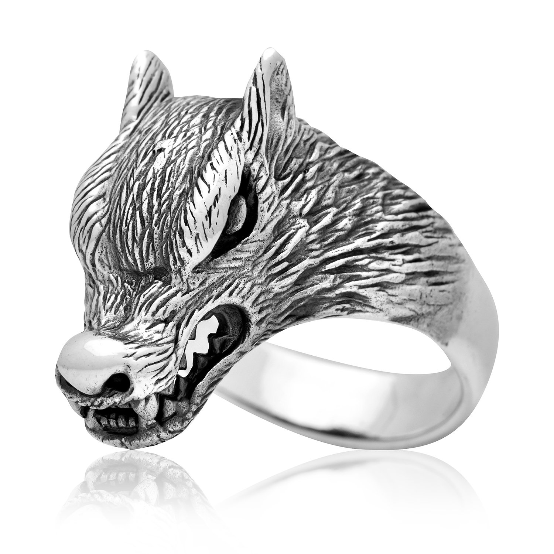 925 Sterling Silver Viking Wolf Fenrir Head Norse Pagan Ring